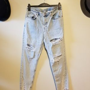 H&M distressed boyfriend low waist denim size 32